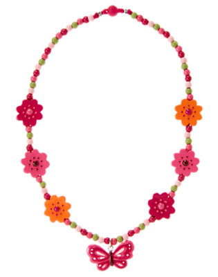 Girls Raspberry Pink Butterfly Flower Necklace by Gymboree