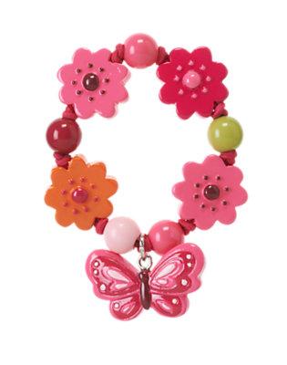 Girls Raspberry Pink Butterfly Flower Bracelet by Gymboree