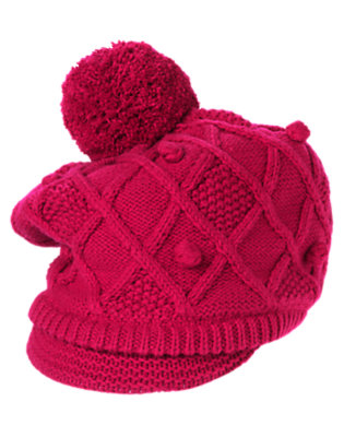 Girls Raspberry Pink Diamond Knit Sweater Hat by Gymboree