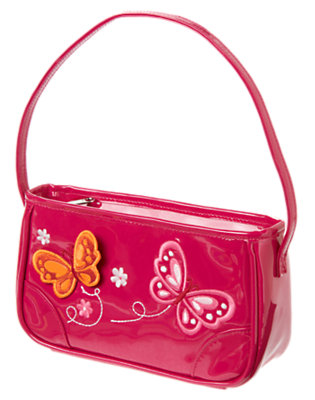 Girls Raspberry Pink Butterfly Patent Purse by Gymboree