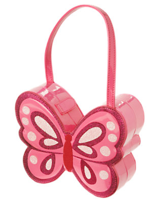 Girls Flutter Pink Glitter Butterfly Patent Purse by Gymboree
