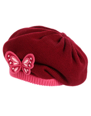 Toddler Girls Pomegranate Red Butterfly Sweater Beret by Gymboree