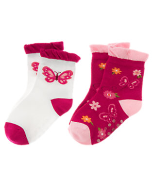 Toddler Girls Raspberry Pink Butterfly Flower Sock Two-Pack by Gymboree