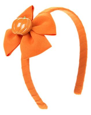 Pumpkin Orange Pumpkin Bow Headband by Gymboree