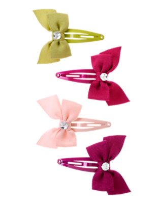 Girls Pomegranate Red Gem Bow Hair Clip Four-Pack by Gymboree