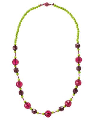 Girls Bright Plum Gem Bauble Necklace by Gymboree