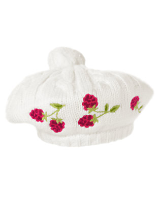 Girls Ivory Embroidered Raspberry Sweater Hat by Gymboree