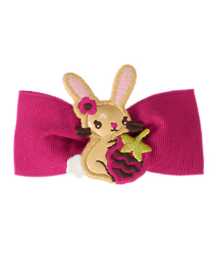 Toddler Girls Bright Raspberry Pink Bunny Bow Hair Clip by Gymboree