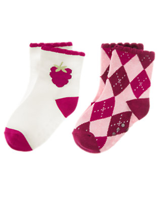 Toddler Girls Plum Argyle Raspberry Argyle Sock Two-Pack by Gymboree