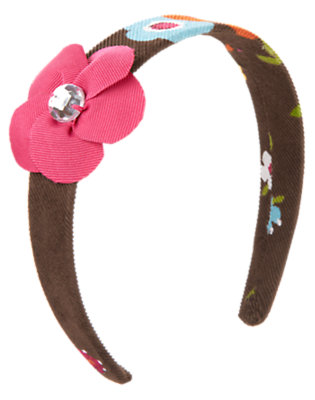 Forest Brown Floral Gem Flower Headband by Gymboree
