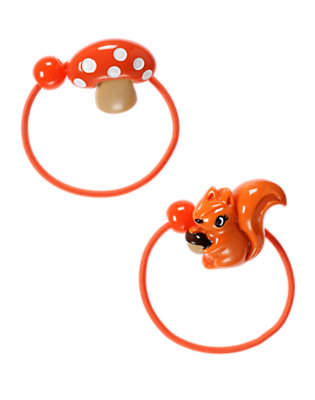 Girls Poppy Orange Squirrel Mushroom Pony Holder Two-Pack by Gymboree