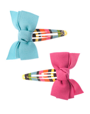 Lake Blue Bow Hair Clip Two-Pack by Gymboree