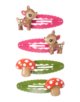 Girls Tan Deer Mushroom Snap Clip Four-Pack by Gymboree