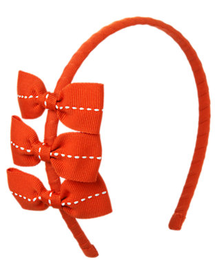 Girls Poppy Orange Pickstitched Bow Headband by Gymboree