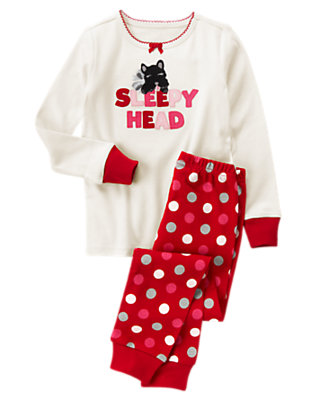 Toddler Girls Ivory/Bright Red Sleepy Head Dog Two-Piece Gymmies® by Gymboree