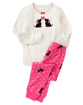 Girls Ivory/Cheery Pink Heart Scottie Dogs Two-Piece Gymmies® by Gymboree
