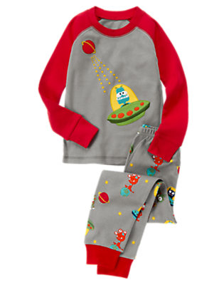 Toddler Boys Steel Grey Space Aliens Two-Piece Gymmies® by Gymboree