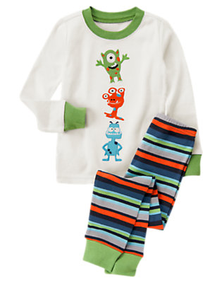 Boys Ivory/Space Green Silly Aliens Two-Piece Gymmies® by Gymboree
