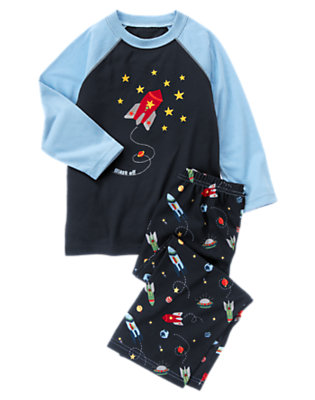 Toddler Boys Gym Navy Blast Off Two-Piece Pajama Set by Gymboree