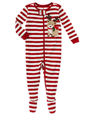 Boys Holiday Red Stripe Reindeer Stripe Footed One-Piece by Gymboree