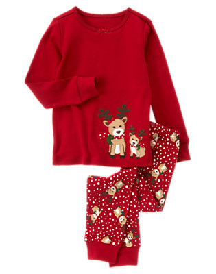 Toddler Girls Holiday Red Reindeer Dot Two-Piece Gymmies® by Gymboree
