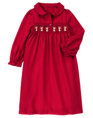 Toddler Girls Holiday Red Reindeer Smocked Pajama Gown by Gymboree