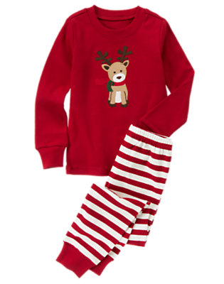 Holiday Red Stripe Reindeer Stripe Two-Piece Gymmies® by Gymboree