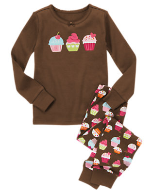 Girls Chocolate Brown Cupcake Two-Piece Gymmies® by Gymboree