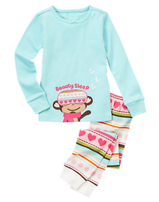 Light Blue Beauty Sleep Monkey Two-Piece Gymmies® by Gymboree