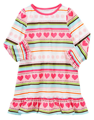 Toddler Girls Candy Pink Stripe Heart Stripe Pajama Gown by Gymboree