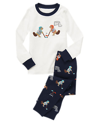 Boys Gym Navy Beaver Hockey Two-Piece Gymmies® by Gymboree