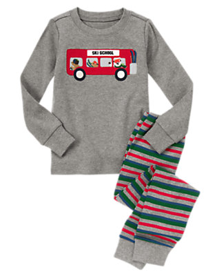 Heather Grey Ski School Bus Two-Piece Gymmies® by Gymboree