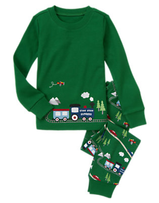 Pine Green Train Two-Piece Gymmies® by Gymboree