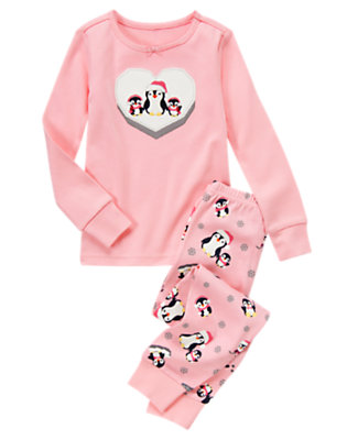 Girls Candy Pink Heart Penguin Two-Piece Gymmies® by Gymboree