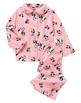 Candy Pink Penguin Two-Piece Pajama Set by Gymboree