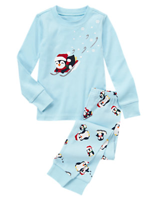 Snow Blue Sledding Penguin Two-Piece Gymmies® by Gymboree