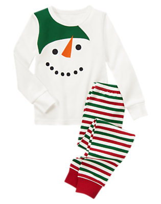 Toddler Boys Ivory Snowman Two-Piece Gymmies® by Gymboree