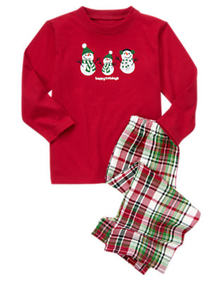 Girls Festive Red Snowman Family Two-Piece Pajama Set by Gymboree