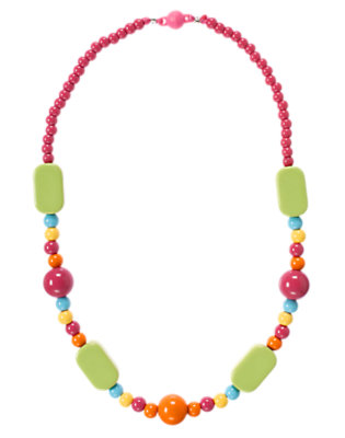 Girls Acorn Green Rectangle Bead Necklace by Gymboree