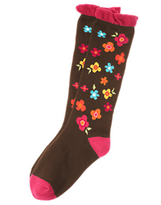 Girls Forest Brown Floral Flower Knee Sock by Gymboree