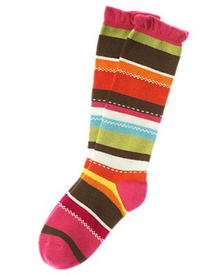 Girls Poppy Orange Stripe Stripe Knee Sock by Gymboree