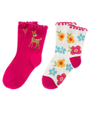 Girls Fuchsia Pink Deer Flower Sock Two-Pack by Gymboree