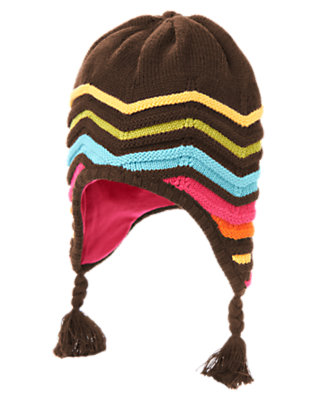 Forest Brown Zigzag Stripe Sweater Hat by Gymboree