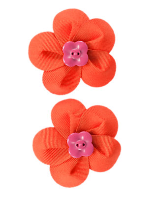 Poppy Orange Button Flower Hair Clip Two-Pack by Gymboree