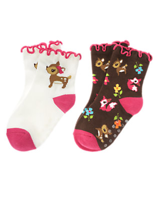 Toddler Girls Forest Brown Deer Fox Sock Two-Pack by Gymboree