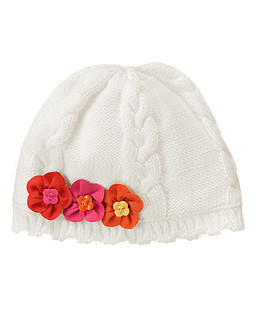 Flower Cable Sweater Hat