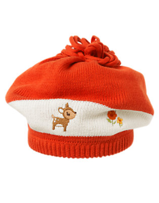 Toddler Girls Poppy Orange Deer Mushroom Sweater Hat by Gymboree