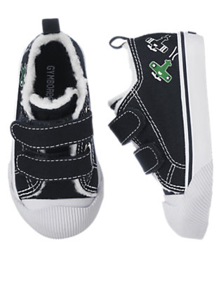 Gym Navy Airplanes Faux Sherpa Sneaker by Gymboree