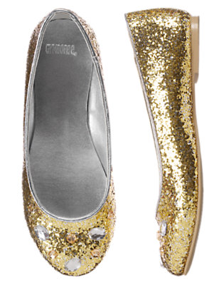 Girls Glitter Gold Gem Glitter Ballet Flat by Gymboree