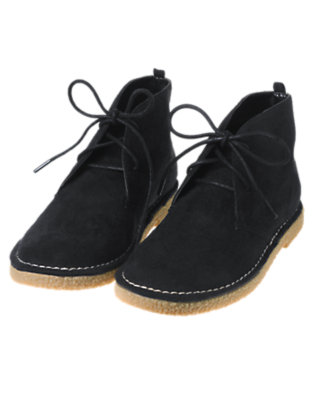 Boys Black Faux Suede Desert Boot by Gymboree